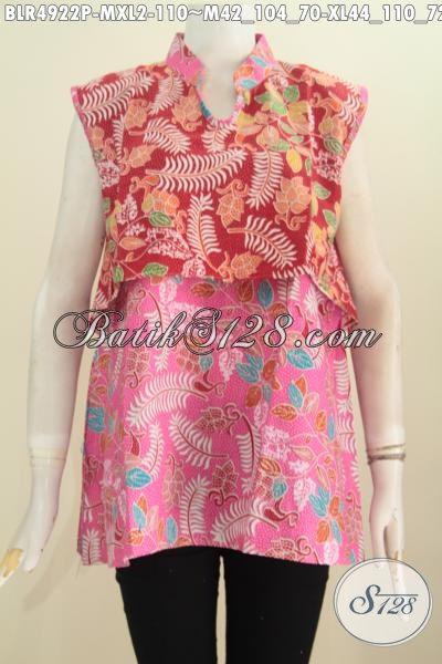Baju Vest Balero Bahan Batik Printing Kombinasi Dua Warna Keren Dan Trendy, Busana Batik Wanita Muda Masa Kini Untuk Tampil Beda Dan Gaya, Size M – XL