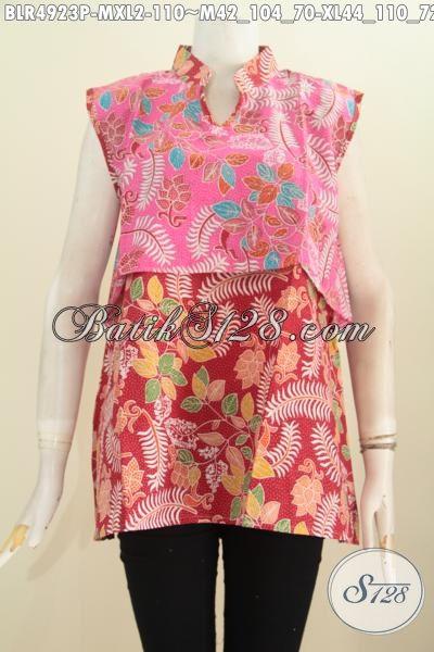 Toko Batik Online, Sedia Vest Balero Bahan Batik Printing Kombinasi Dua Warna Cerah Bikin Wanita Terlihat Cantik Mempesona, Size M – XL