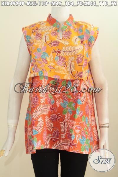 Busana Vest Balero Bahan Batik Solo Proses Printing Warna Kuning Kombinasi Orange Motif Keren, Cocok Untuk Hangout Dan Pesta, Size M – XL