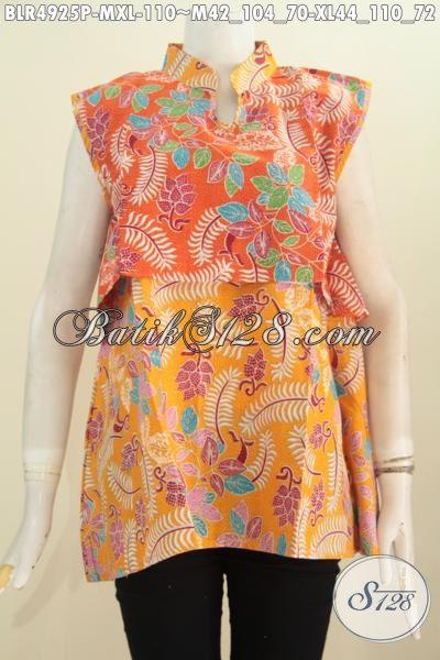 Vest Balero Batik Desain Tanpa Lengan Kombinasi Dua Warna