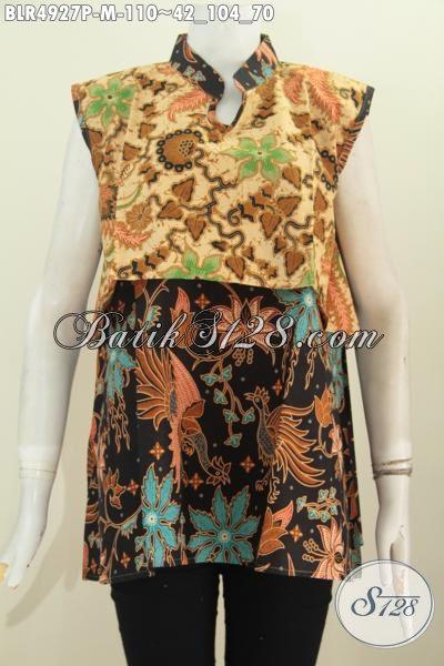 Busana Batik Dual Motif Desain Vest Balero, Pakaian Batik Keren Bahan Adem Proses Printing Untuk Tampil Modis Serta Gaya, Size M