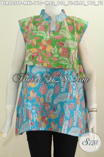Balero Batik Desain Terkini Dengan Kombinasi Dua Warna Berpadu Motif Keren Proses Printing Yang Menunjang Penampilan Cewek Terlihat Istimewa [BLR4928P-M , XL]