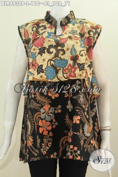 Jual Produk Pakaian Batik Wanita Dengan Kombinasi Dua Warna Dan Motif, Baju Batik Printing Desain Vest Balero Nan Modis Cocok Untuk Acara Santai, Size L