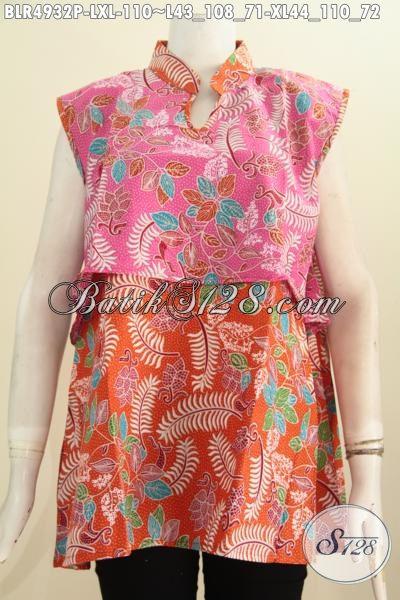 Jual Online Vest Balero Batik Buatan Solo, Aneka Pakaian Batik Modern Bahan Adem Motif Keren Kombinasi Dua Warna Harga 100 Ribuan, Size L – XL