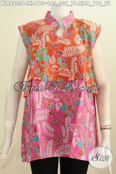 Baju Batik Vest Balero Kombinasi Warna Orange Dan Pink, Pakaian Batik Keren Buatan Solo Penunjang Penampilan Lebih Gaya Serta Mempesona [BLR4933P-XL]