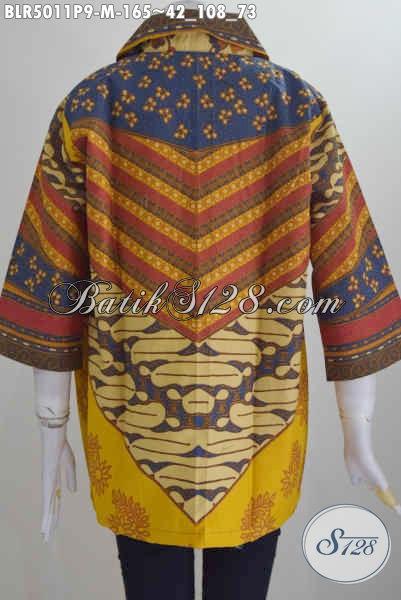Jual Baju Batik Kerja Buat Wanita, Pakaian Batik Modis Halus Model Balero Motif Sinaran Berbahan Adem Proses Printing Size L Harga 165K
