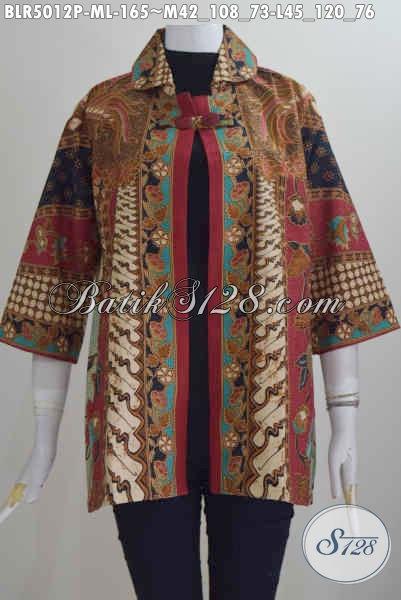 Busana Batik Elegan Kwalitas Istimewa, Pakaian Batik Balero Modis Buatan Solo Motif Sinaran Proses Printing Bahan Adem Untuk Kerja Dan Acara Resmi [BLR5012P-L]