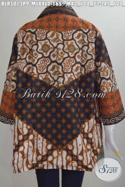 Pakaian Batik Klasik Untuk Wanita Muda Dan Dewasa, Baju Batik Seragam Kerja Perempuan Karir Bahan Adem Proses Printing Motif Sinaran, Size M – L – XL