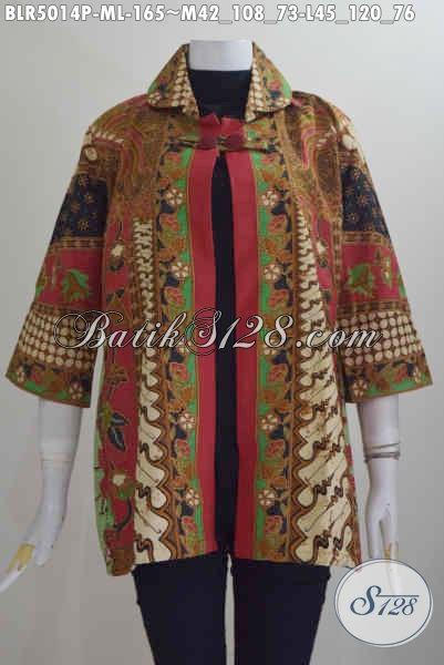 Jual Pakaian Batik Wanita Terbaru, Hadir Dengan Desain Balero Berpadu Motif Klasik Nan Elegan Berbahan Adem Proses Printing Motif Sinaran Cocok Untuk Acara Formal, Size M – L