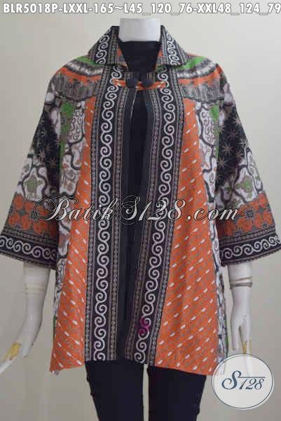 Pakaian Kerja Bahan Batik Printing Motif Sinaran, Baju Batik Wanita Model Balero Buatan Solo Istimewa Dengan Daleman Pakai Furing Harga 165K, Size L – XXL