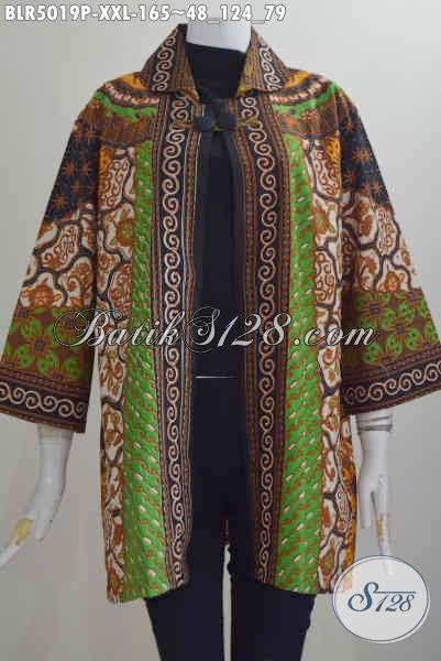 Baju Batik Jumbo Model Balero Berbahan Batik Klasik Motif Sinaran Proses Printing Ukuran 3L, Spesial Buat Wanita Gemuk