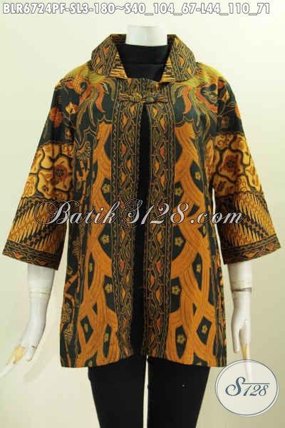 Baju Batik Balero Untuk Wanita Muda Dan Dewasa Dengan Desain Mewah Motif Klasik Printing Daleman Full Furing [BLR6724PF-L]