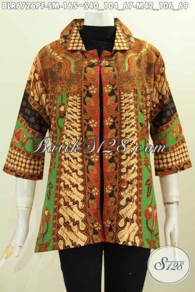 Sedia Balero Batik Solo Klasik Bahan Adem Desain Mewah Proses Printing Untuk Tampil Gaya Daleman Di Lengkapi Furing [BLR6726PF-M]