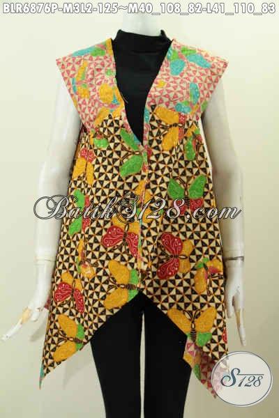 Agen Baju Batik Online Sedia Balero Batik Tanpa Lengan Kwalitas Bagus Harga Terjangkau Untuk Jalan-Jalan Dan Pesta [BLR6876P-M , L]