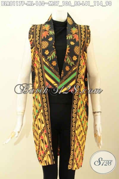 Model Outer Batik Trendy, Bahan Halus Motif Klasik Printing, Balero Batik Tanpa Lengan Untuk Penampilan Makn Gaya [BLR8117P-M]