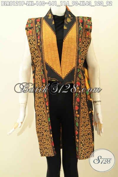 Model Busana Batik Solo Trendy, Batik Panjang Outer Motif Klasik Printing, Pas Banget Untuk Acara Pesta Hanya 160K [BLR8121P-L , XL]