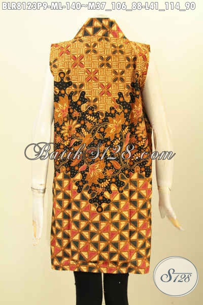 Baleroo Batik Panjang Tanpa Lengan, Outer Batik Modis Bahan Halus Motif Klasik Cocok Buat Ke Pesta, Size M – L