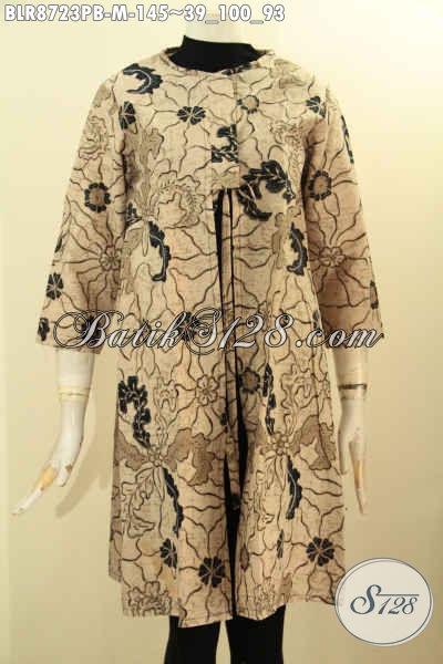 Produk Busana Batik Wanita Desain Gaul, Balero Batik Modis Desain Bertali Depan Dan Kantong Dalem, Bahan Adem Motif Unik Printing Cabut, Penampilan Terlihat Kekinian
