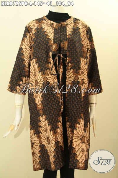 Pusat Baju Batik Solo Online Kwalitas Bagus Harga Terjangkau, Sedia Outer Batik Nan Modis Model Bertali Depan Di Lengkapi Kantong Dalem, Tampil Lebih Modis