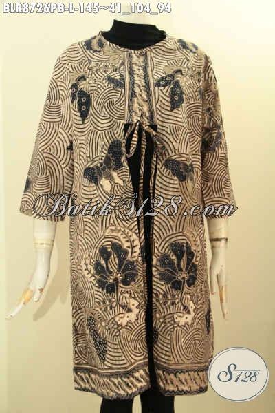 Produk Busana Batik Wanita Masa Kini, Outer Batik Hadir Untuk Penampilan Lebih Trendy Dengan Desain Bertali Depan Serta Kantong Dalam Hanya 145K