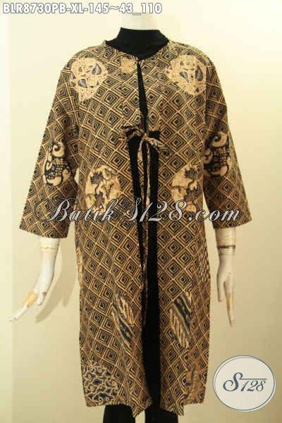 Outer Batik Buatan Solo Asli, Busana Batik Balero Nan Modis Dan Mewah Desain Kekinian Motif Bagus Proses Printing Cabut Harga Terjangkau [BLR8730PB-XL]