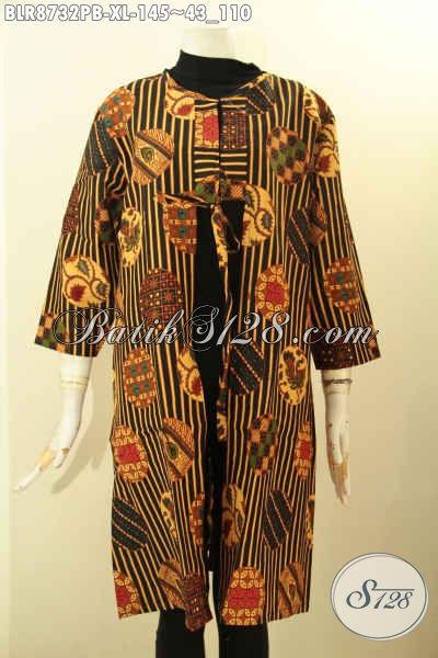 Sedia Outer Batik Khas Jawa Tengah, Pakaian Batik Kekinian Untuk Penampilan Terlihat Gaya Dan Mempesona Dengan Desain Bertali Depan Dan Kantong Dalam