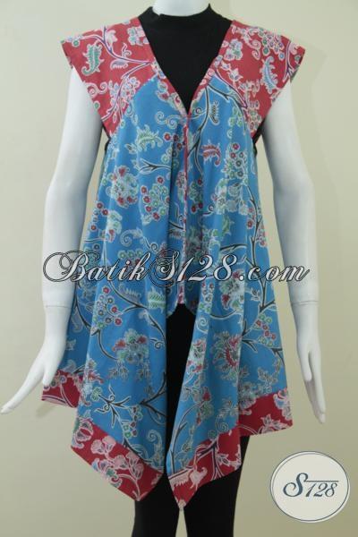 Busana Batik Wanita Modern Motif Unik, Baju Batik Model Lebong Gaul Dan Trendy, Size L