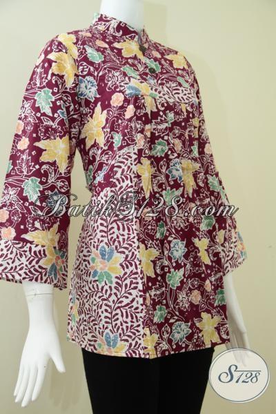 Blus BAtik Wanita Kombinasi Dua Motif Bunga Yang Berbeda,Batik Wanita Karir [BLS1002C-L]