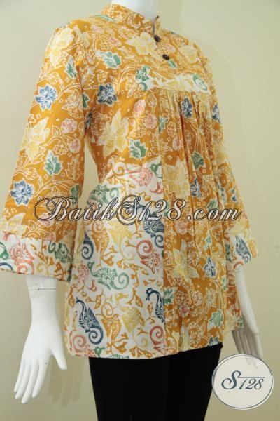 Baju BAtik Wanita Warna Kuning Cerah,Model Batik Wanita Terbaru Dua ...