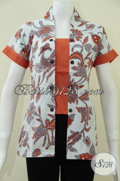 Baju Seragam Kantor Wanita Lengan Pendek Batik Motif Warna Orange