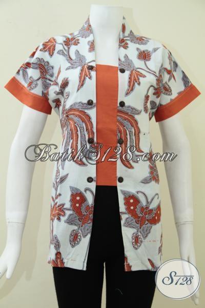 Koleksi Terbaru Blus Batik Keren Motif Kupu-Kupu Dan Burung Berpadu Warna Putih Dan Orange Semakin Modis Dan Stylish