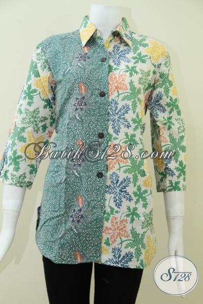 Pakaian Batik Wanita Masa Kini,Trend Batik Warna Hijau Tahun 2014 [BLS1033C-M]