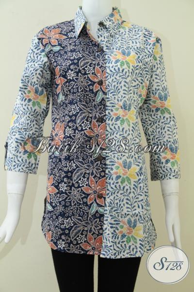 Pakaian Batik Wanita Modern Dengan Kombinasi Motif Dan Warna Unik, Baju Batik Kerja Dan Santai, Size L