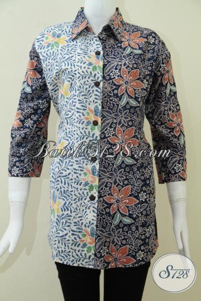 Baju Batik Wanita Kombinasi Dua Warna Dan Motif, Tren Busana Batik Perempuan Modern 2014 Resmi Dan Santai, Size L