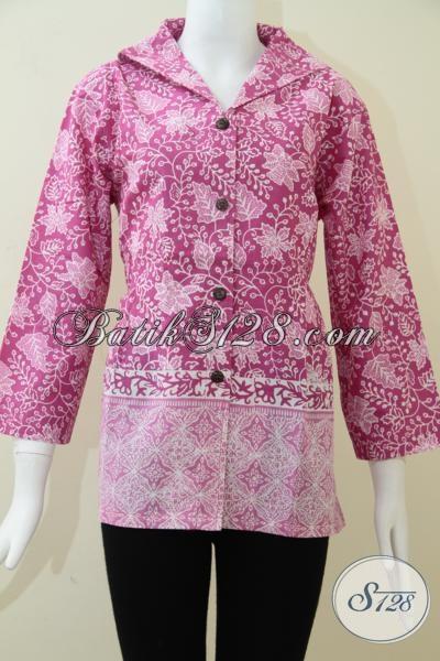Batik Baju Warna Cerah Modern Trendy Gaul, Busana Batik Pesta Lengan Tiga Perempat Wanita Muda Masa Kini, Size L – XXL