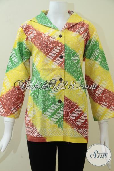Pusat Busna Batik Wanita Online, Jual Blus Batik Modern Motif Unik Kombinasi Warna Menarik Tiada Duanya, Cocok Untuk Gaul Dan Hangout, Size L