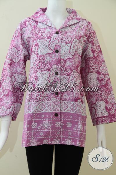 Blus Batik Warna Pink Motif Sekar Jagad, Baju Batik Wanita Karir Selalu Ingin Tampil Trendy Dan Modern, Size M – XL
