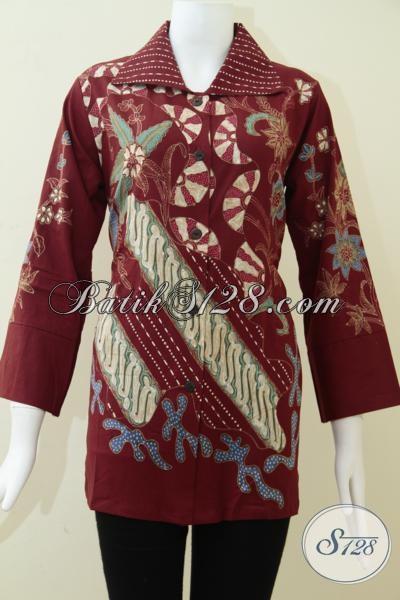 Baju Batik Tulis Warna Merah Untuk Wanita Elegan Trendy