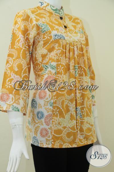 Tren Busana Batik Wanita Model Terbaru, Pakaian Batik Solo Model Krah Shanghai Warna Kuning Cantik Anggun Dan Mewah, Size S