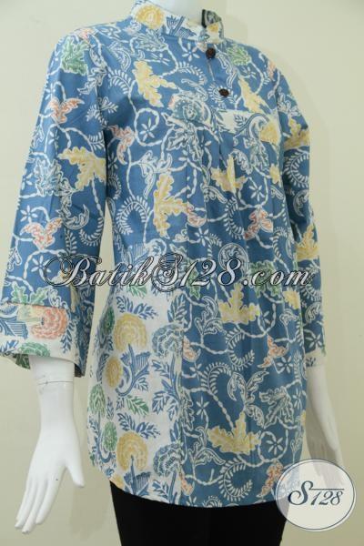 Pakaian Batik Resmi Perempuan Muda Masa Kini, Blus Batik Mewah Warna Biru Keren Harga Terjangkau, Size XL