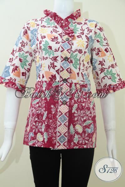 Baju Batik Wanita Modern,Blus Batik Trendy Terkini [BLS1116C-S]