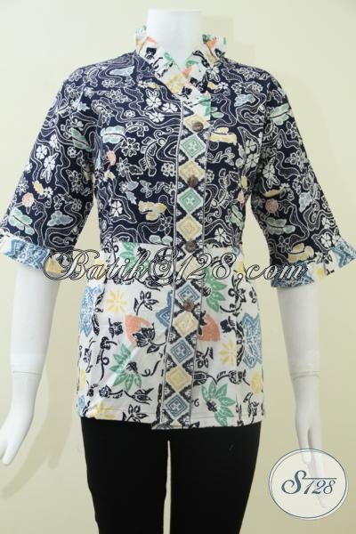 Butik Batik Solo Modern, Hadir Dengan Koleksi Blus Batik Keren Warna Biru Bagus Untuk Kerja Dan Keperluan Resmi Lainnya, Size M