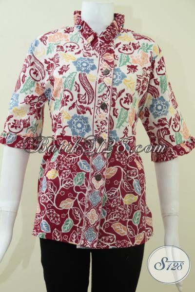 Batik Fashionable Untuk Wanita,Blus Batik Lengan Tiga Perempat Untuk Kerja Kantor [BLS1125C-M]