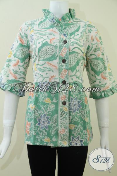 Baju Batik Kerja Wanita Motif Floral Blus Batik Wanita