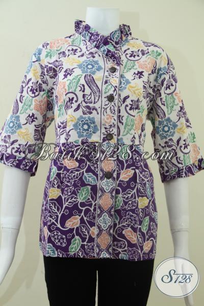 Baju Batik Solo Bagus Kain Katun Halus Adem Nyaman Dipakai, Blus Batik Perempuan Muda Dan Dewasa Model Terbaru, Size L