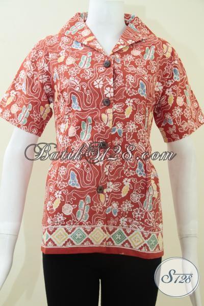 Pakaian Batik Karyawati Modern Modis Terkini, Baju Batik Lengan Pendek Perempuan Muda Dan Dewasa, Size S