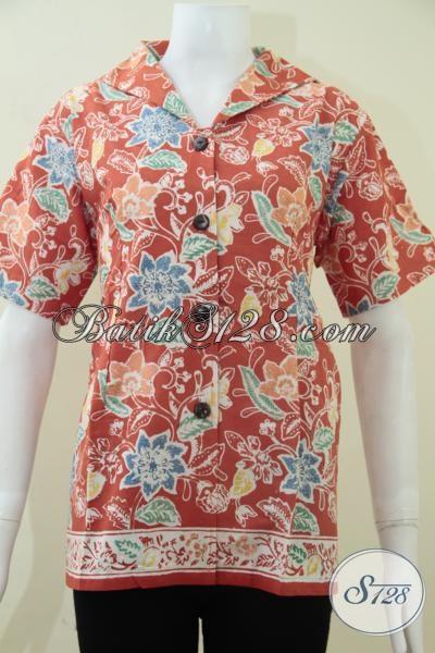 Baju Batik Wanita Paling Laris Saat Ini, Blus Batik Trendy Pegawai Bank Karyawati Swasta Dan BUMN, Size L – XL