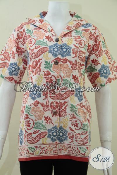 Busana Batik Solo Trendy Motif Bunga-Bunga Warna Cerah,  Blus Batik Modern Tren Masa Kini, Size L