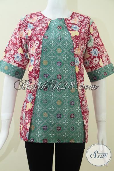 Blus Batik Mewah Kombinasi Dua Warna Dengan Harga Terjangkau, Pakaian Batik Gaul Wanita Muda Dan Remaja Putri, Size M