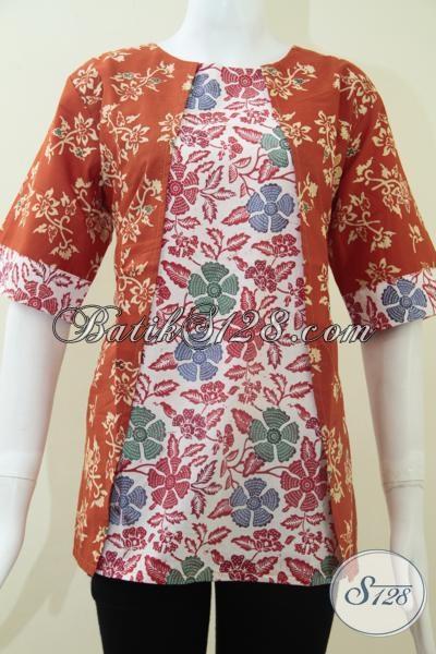Juragan Batik Solo Online, Menawarkan Pakaian Batik Blus Model Terbaru Kombinasi Dua Warna Dan Motif, Baju Batik Resmi Tampil Lebih Feminim, Size L